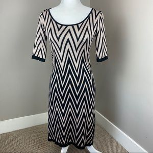 ALLISON BRITTNEY CHEVRON CREAM BLACK SWEATER DRESS